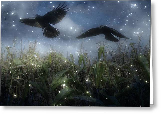 Starry Autumn Night With Crows In Flight Greeting Card
