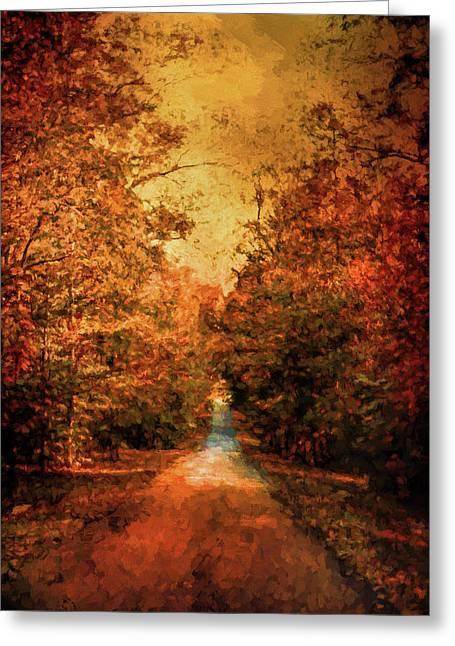 Autumn On Calvary Road Landscape Art Greeting Card by Jai Johnson