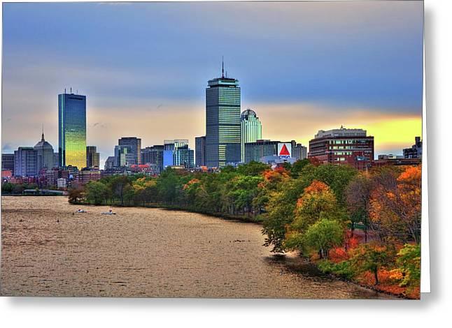 Autumn On The Charles River - Boston Greeting Card by Joann Vitali