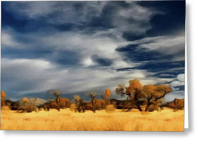 Greeting Card featuring the painting Autumn On The Edge Of The Great Plains  by David Dehner