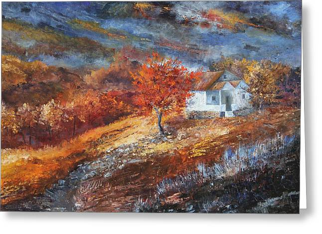 Autumn On The Hilltop Greeting Card by Tim Ford