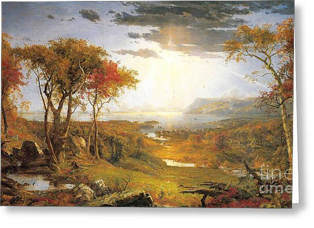 Autumn On The Hudson River  Greeting Card by Celestial Images