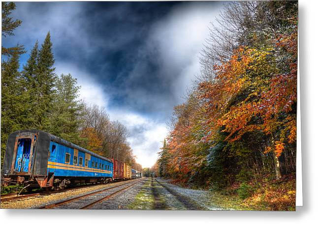 Autumn On The Tracks Greeting Card
