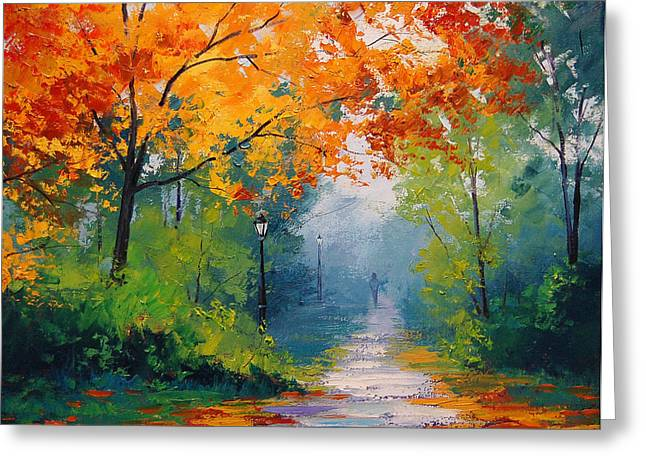 Fall Trees Greeting Cards - Autumn Park Greeting Card by Graham Gercken