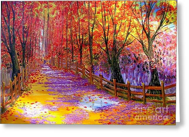 Autumn Path Greeting Card by Inna Montano