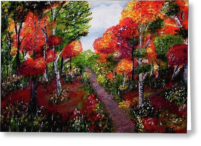 Greeting Card featuring the painting Autumn Path by Sonya Nancy Capling-Bacle