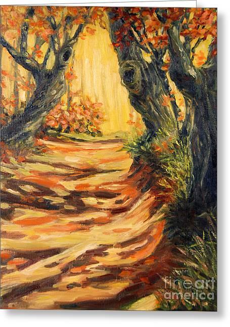 Autumn Pathways Greeting Card