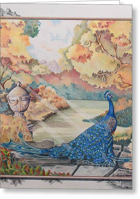 Autumn Peacock Greeting Card by Joyce Hutchinson