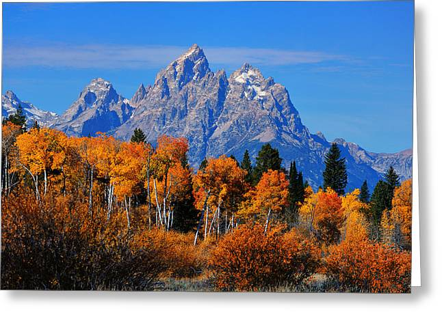 Autumn Peak Beneath The Peaks Greeting Card by Greg Norrell