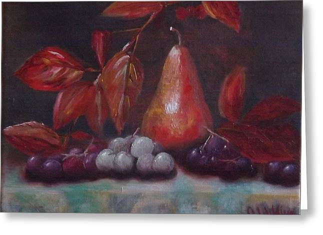 Autumn Pear With Grapes Greeting Card