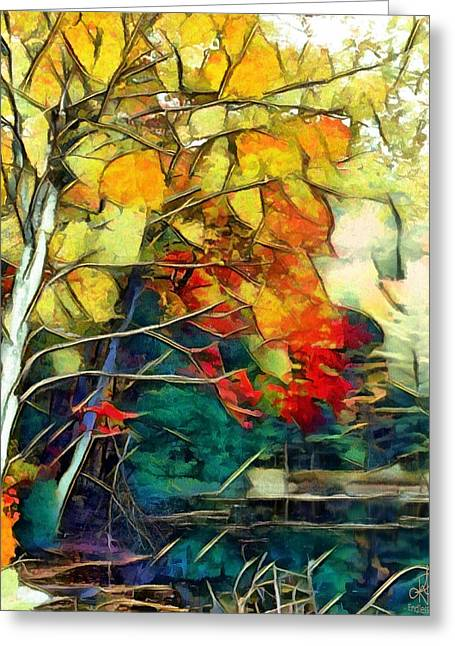 Greeting Card featuring the digital art Autumn by Pennie McCracken