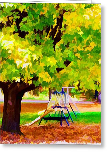 Autumn Playground Greeting Card by Lanjee Chee