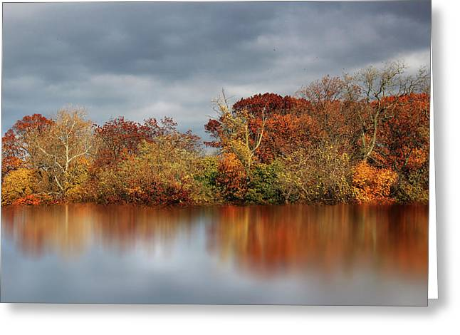 Autumn Pond Reflections Greeting Card