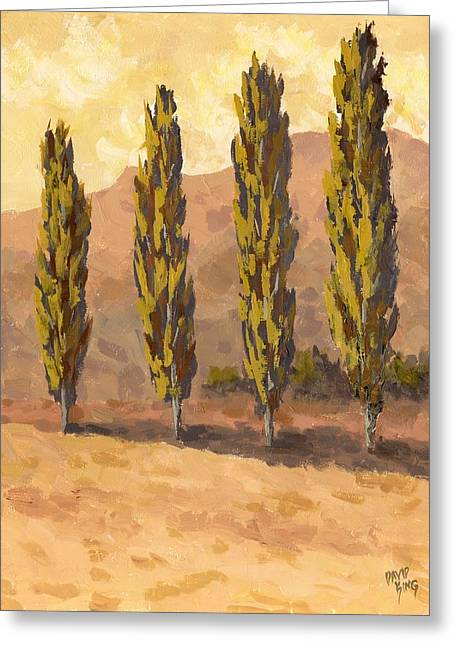 Greeting Card featuring the painting Autumn Poplars by David King