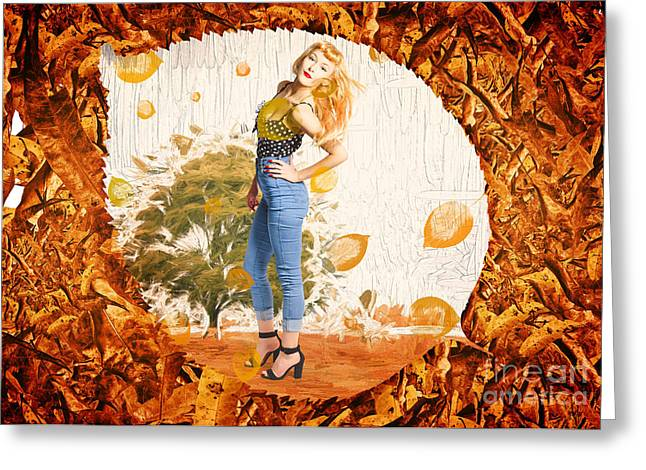 Autumn Postcard Pinup Greeting Card