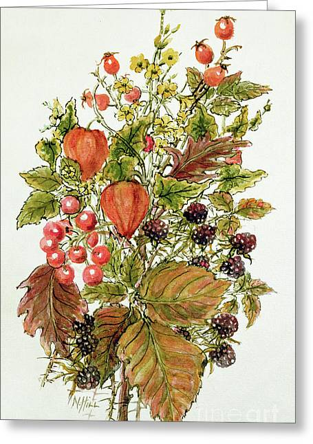 Autumn Posy Greeting Card by Nell Hill