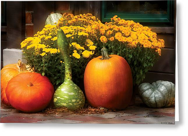 Autumn - Pumpkin - The Gang's All Here Greeting Card by Mike Savad