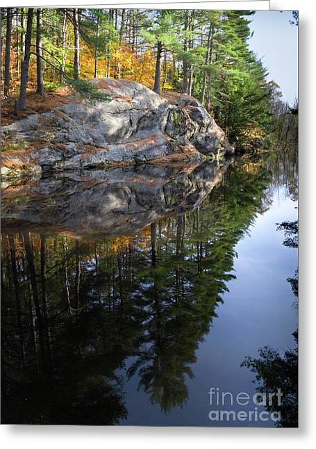 Autumn Reflections At Runaround Pond In Durham Maine  -20224 Greeting Card