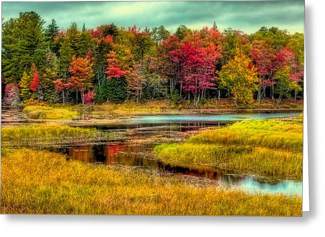 Autumn Reflections In Old Forge Greeting Card by David Patterson