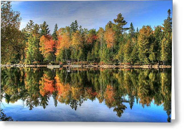 Greeting Card featuring the photograph Autumn Reflections Of Maine by Shelley Neff