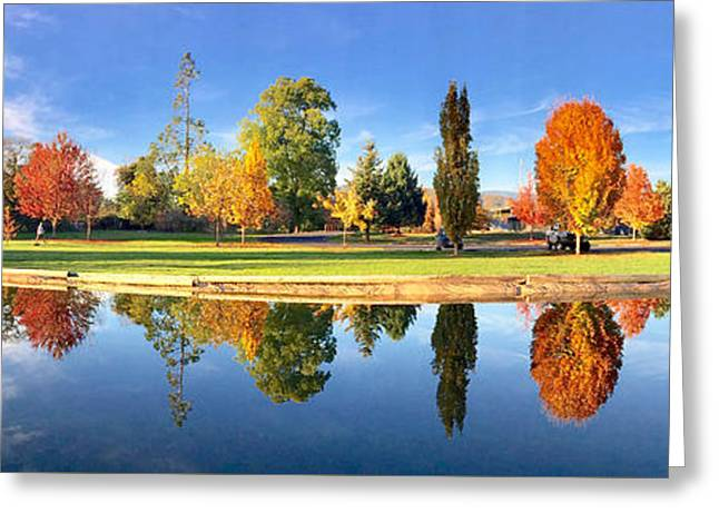Autumn Reflections Panorama Greeting Card by Sean Griffin