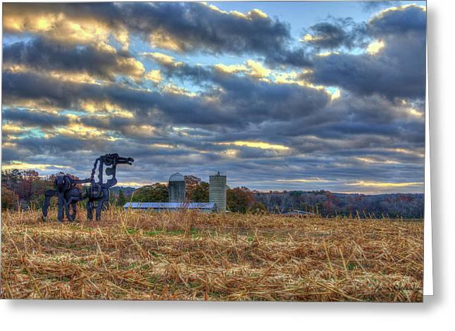 Autumn Rest The Iron Horse Sunrise Farm Art Greeting Card by Reid Callaway