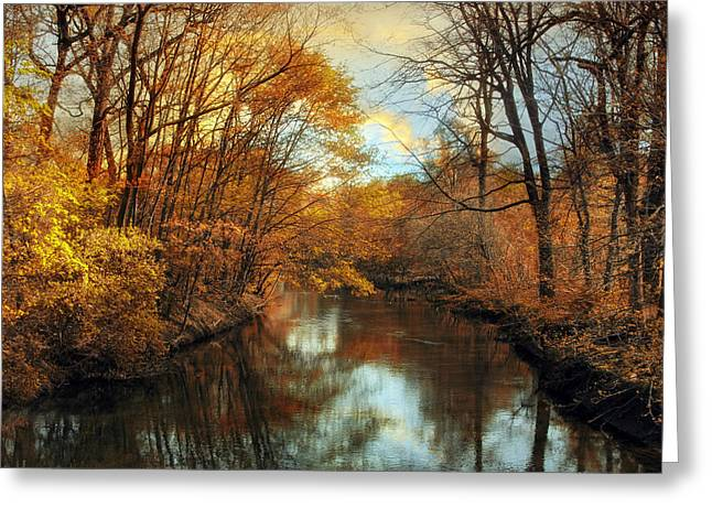 Autumn River Lights Greeting Card by Jessica Jenney