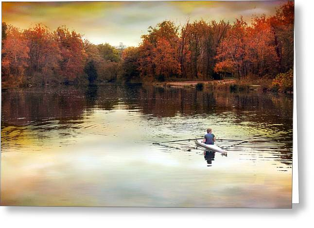 Autumn River Row Greeting Card by Jessica Jenney