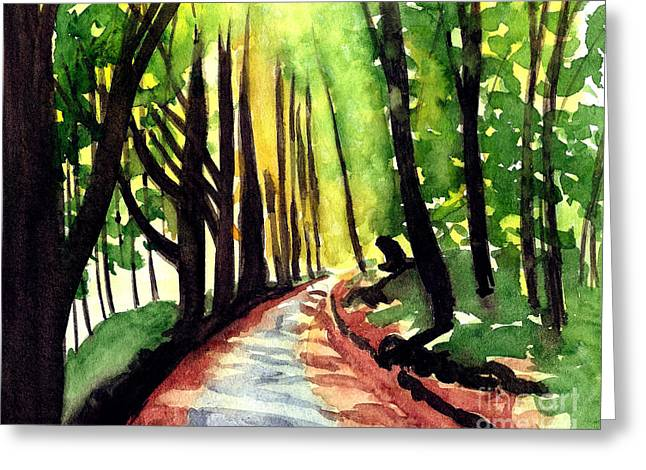 Greeting Card featuring the painting Autumn Road by Robert Coppen