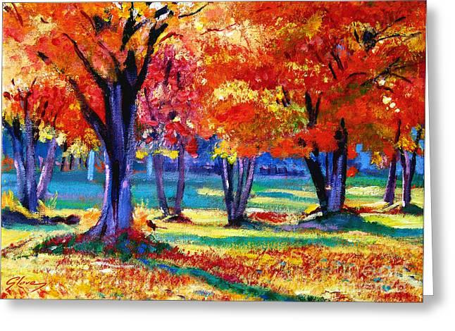 Autumn Row Greeting Card by David Lloyd Glover