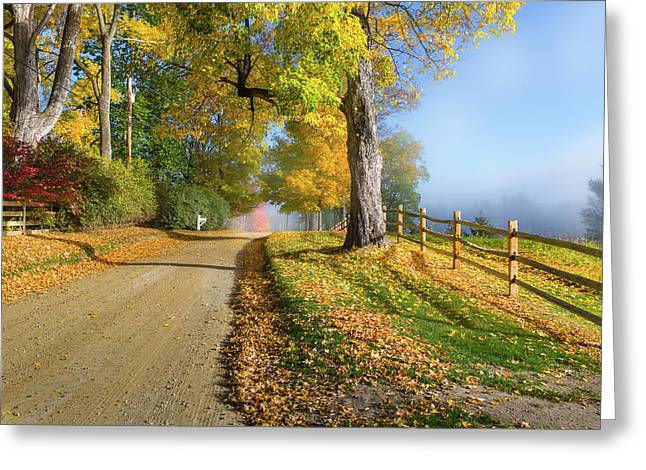 Autumn Rural Road Greeting Card by Bill Wakeley