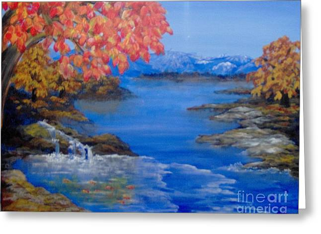 Greeting Card featuring the painting Autumn by Saundra Johnson