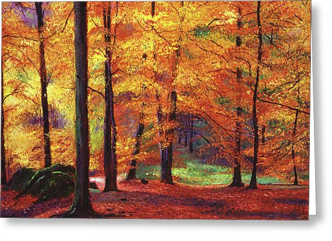 Featured Art Greeting Cards - Autumn Serenity Greeting Card by David Lloyd Glover