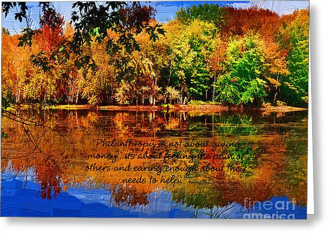 Autumn Serenity Philanthropy Painted Greeting Card by Diane E Berry