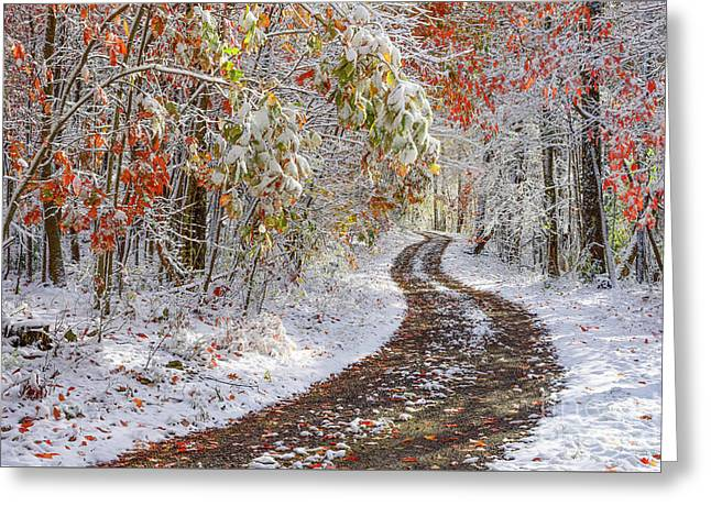 Autumn Snow Country Road Greeting Card