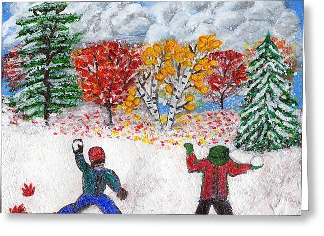 Autumn Snow Greeting Card by Lisa Hinshaw