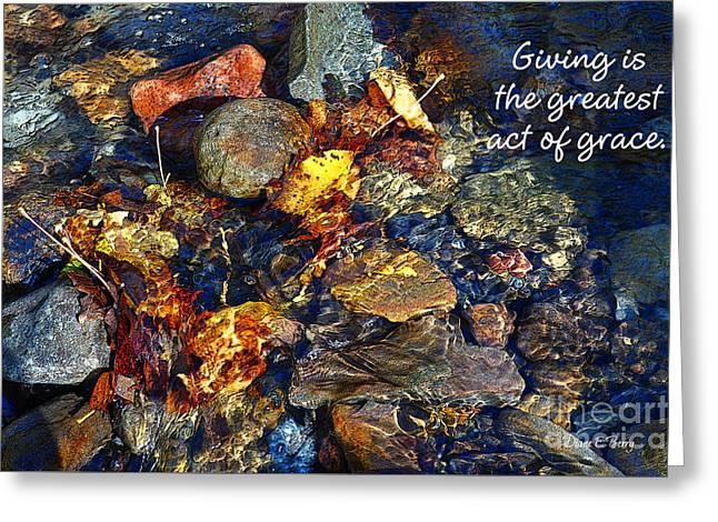 Autumn Splash Grace Greeting Card by Diane E Berry