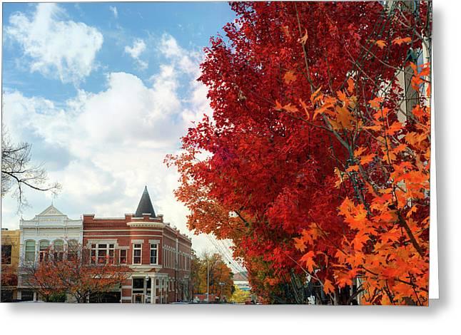 Autumn Splendor Along The Downtown Fayetteville Arkansas Skyline  Greeting Card