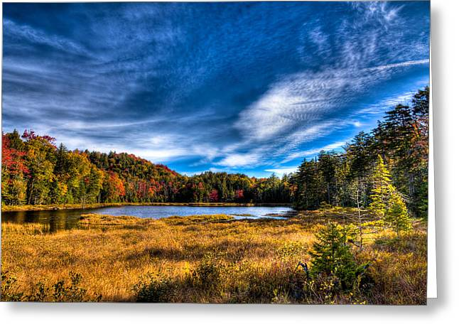 Autumn Splendor On Fly Pond Greeting Card by David Patterson