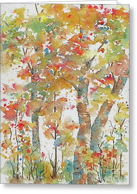Greeting Card featuring the painting Autumn Splendor by Pat Katz