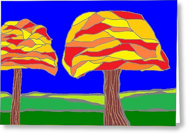 Autumn Stained Glass 1 Greeting Card