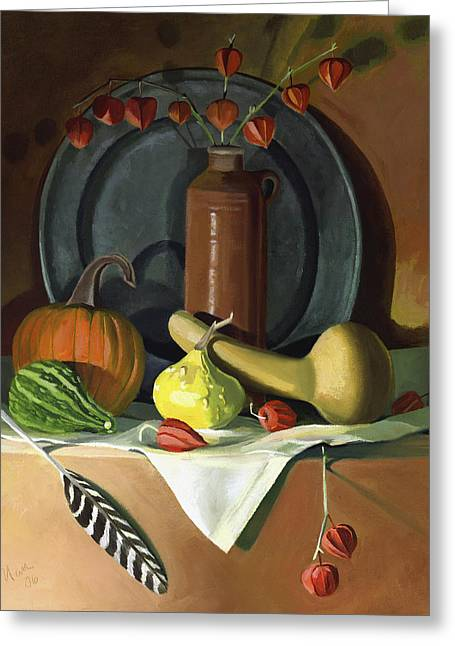Greeting Card featuring the painting Autumn Still Life by Nancy Griswold
