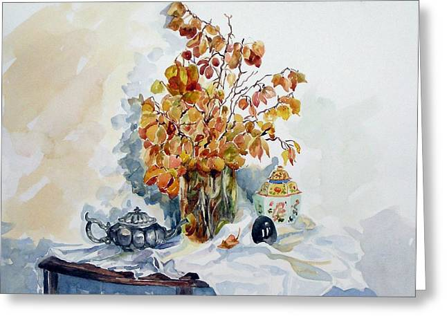 Greeting Card featuring the painting Autumn Still Life by Pat Crowther