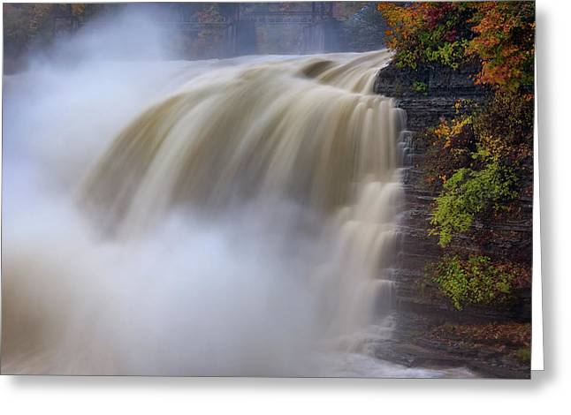 Autumn Storm At The Upper Falls Greeting Card by Rick Berk