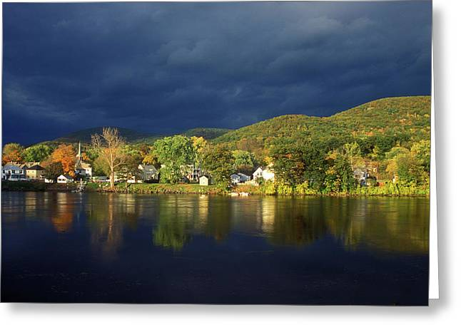 Autumn Storm Over Connecticut River Greeting Card by John Burk