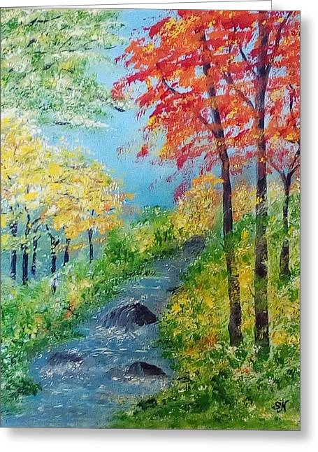 Greeting Card featuring the painting Autumn Stream by Sonya Nancy Capling-Bacle