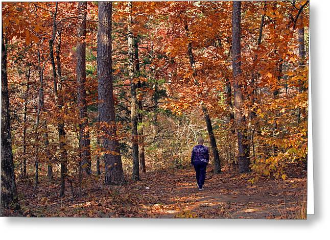 Autumn Stroll Greeting Card by Gayle Johnson