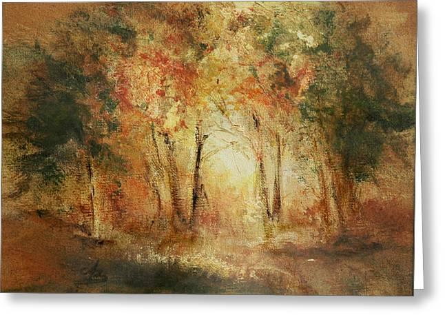 Autumn Sun Greeting Card by Aneta  Berghane