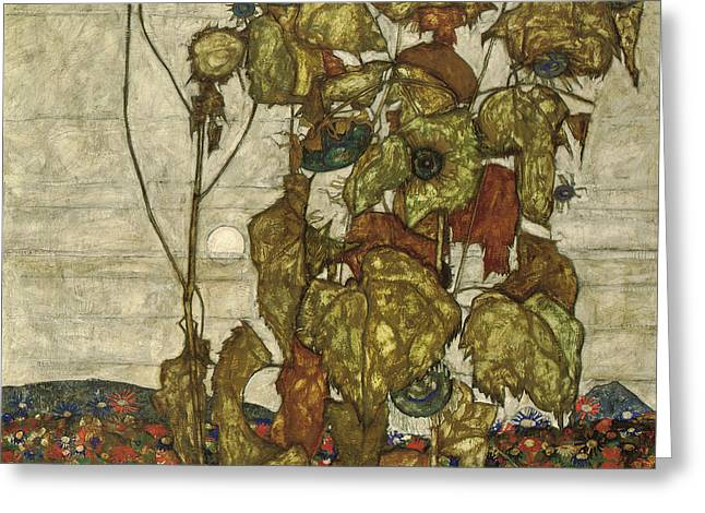 Autumn Sun Greeting Card by Egon Schiele