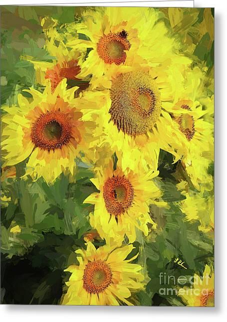 Autumn Sunflowers Greeting Card by Tina LeCour